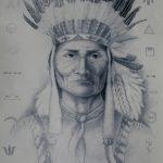 Вождь Апачів, ватман, олівець, 42х60, 2013-Ірина Стасюк