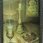 Натюрморт з цкрковним начинням, полотно на картоні, олія, 30х40, 2014 г.-Ірина Стасюк
