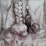 ПЗС - Натюрморт з гарбузом, гелева ручка, папір,40х50, 2016 р.-Олена Кутецька