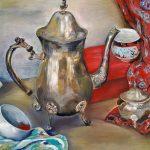 3-е место -Натюрморт с мельхиоровым чайником, холст, масло, 30×40, Тамара Рогозина
