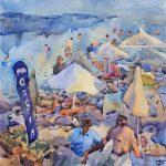 Екзотичний пляж, акварель, 57x57, 2019р., Белащук Тетяна