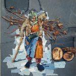 ПЗС - Зима, смешанная техника, ткань, коллаж, 50х60, Мацакян Шогик