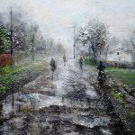 Утро в селе, холст, масло, 50х80- Людмила Лебедева