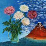 Хризантемы для Кацусико Хокусая, холст, масло, 60х60, 2020г., Наталия Довганюк