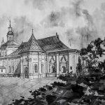 Введенская церковь. Бумага, тушь, перо, чёрная ручка, чёрный и белый карандаши, 28х40,5, 2018 - Леоненко Мария