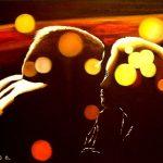 Ожидание.поцелуя в неоновых огнях,холст,масло,40х60,2006г.