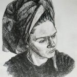 После душа, бумага, карандаш,, 21×29.7, 2018- - Леоненко Мария