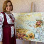 Татьяна Золотухина у своей картины_Вишиванка