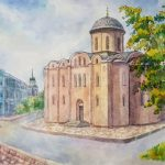 Церковь Успения Богородицы Пирогощи, бумага, акварель, 29х40,5 ,2018 - Леоненко Мария