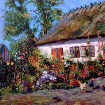 A Cottage Garden with Chickens (Вольная копия П.Мёнстеда), холст, масло,40х60,2020г.-художник Олег М.Караваев