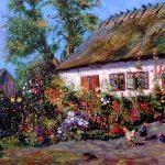 A Cottage Garden with Chickens (Вольная копия П.Мёнстеда), холст, масло,40х60,2020г.-художник Олег М.Караваев