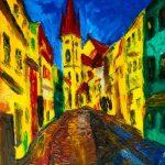 Городской пейзаж Зноймо. Чехия, холст, масло, 40x30, 2020 г.- Владислав Ткаченко