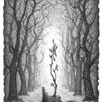 Маленьке деревце, Петро Грицюк, 30х21, папір, олівець (авторська техніка-графічний кракелюр), 2020