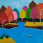 Осенний лес, бумага, фломастеры, 11х11, 2019 г.Лея Моин