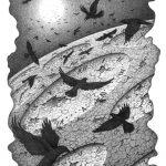 Покинуті світи, Петро Грицюк, 30х21, папір, олівець (авторська техніка-графічник кракелюр), 2020