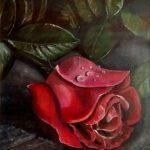 Роза, 30х40, акрил, дсп -Александра Кубанкина
