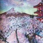 Сезон сакуры в Японии, бумага, масло, 30×42, 2020 г. Анастасия Бовкун