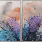 Цветок, диптих_ алкогольные чернила на пластике, 75х50,75х50_ 2018_ Натилья Бырдина