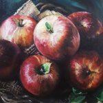 Яблоки, холст, масло, 30х30, 2019г.-Натали Жижко