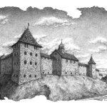 Галицький замок, XVII ст. (художня реставрація), Петро Грицюк, 21х30, папір, олівець (авторська техніка - графічний кракелюр), 2019