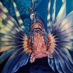 Загадки подводного царства, Крылатка-зебра, холст, масло, 60х80, 2021 г. Олег М. Караваев