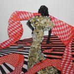 Наперекор красному,красная и чёрная шариковые ручки, фломастеры, сухоцветы, бумага,19х21,2020г.-Анастасия Григоращенко