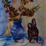 Натюрморт з горобиною, папір, акварель,40х50, 2016р.-Олена Кутецька