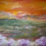 Пейзаж Захід сонця за селом, папір, гуаш, акварель, 15х20, 2020р.-Олена Кутецька