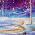 Пейзаж Зимовий вечір, папір, акварель, гуаш , 15х20, 2020р.-Олена Кутецька
