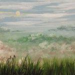 Пейзаж Ранок. Туман, папір, гуаш, 15х20, 2020р.-Олена Кутецька