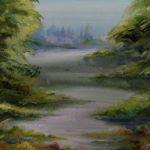 Пейзаж Річка Синюха, папір, гуаш 25х25, 2020 р.-Олена Кутецька