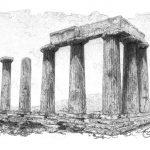 Храм Апполона в Коринфі, Греція, Петро Грицюк, 13х22, папір, олівець (авторська техніка - графічний кракелюр), 2019
