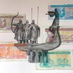 Основатели Киева, бумага, карандаш, купюры, 20х30, 2021 , Олег М. Караваев