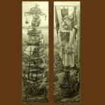Діалог коротунів, гелева ампулка, папір, 54х180 2013 р. Антон Кучмий