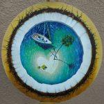 Кокосовый рай, масло, холст на картоне, диаметр 40 см, 2020, Шабалова Анна