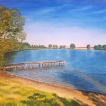 Солнечное озеро, холст, масло, 50х40, 2020г. - Наталья Дианова