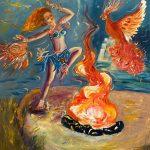 Танец со стихией огня, холст, масло, 50х70, 2019г.- Елена Телешко