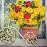 Цветочный велосипед -вышивка атласными лентами,30х30-Ксения Титаренко