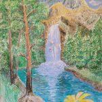 Водопад в сосновом лесу, барельеф, гипсокартон, гипс. штукатурка, акрил, лак, 74х54, Наталия Афанасьева-Стукан