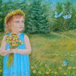Дівчинка в блакитному платті, полотно, олія, 30х40, Ільченко Оксана
