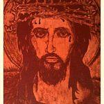 Иисус в терновом венце, граттаж (резьба) по натур.коже, 30х40, Сергей Ильчук