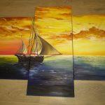 Корабль на фоне манящего заката, холсты, масло, Ольга Качерова