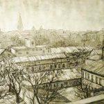 Крыши, бумага, соус, 40х60 - Мария Леоненко