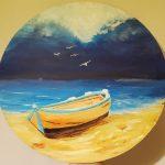 Морской пейзаж, холст, масло, диаметр 30, Плотникова Лилия