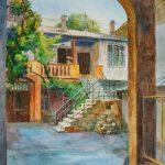 Одесский дворик, бумага, акварель, 60х40 - Мария Леоненко