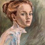 Портрет девушки с зелёными глазами, холст, масло, 40х50, Светлана Черкавская