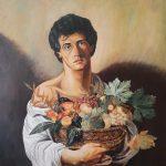 Рембо харчується вітамінами (за мотивами Караваджо), полотно, олія, 90х90, 2021, Михайловський Дмитро