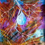 Треск цветов, перламутровые и акриловые краски, бумага, 33×37_ Aytaj Rahimova