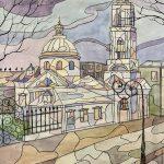 Церковь в ярких цветах, акварель, 60х42см, Сирануш Даниелян