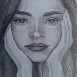 Дівчина, папір, простий олівець, 20х30, Візнович Юлія.